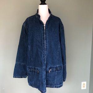 NORTHSTYLE Plaid Flannel Lined Denim Blue Jacket